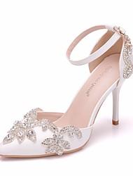 cheap -Women's Wedding Shoes Stiletto Heel Pointed Toe Rhinestone / Imitation Pearl / Buckle PU Sweet / Minimalism Spring &  Fall / Summer White / Party & Evening