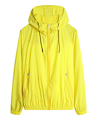 cheap -Men's Daily / Sports Basic Spring &  Fall / Spring & Summer Regular Jacket, Solid Colored Hooded Long Sleeve Nylon Print Yellow / Blue / White