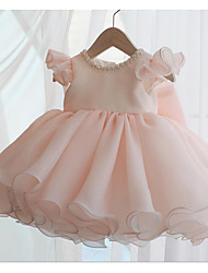 cheap -A-Line Short / Mini Party / Birthday Flower Girl Dresses - POLY Sleeveless Jewel Neck with Lace / Bow(s) / Tier