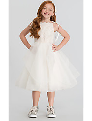 cheap -A-Line Tea Length Wedding Flower Girl Dresses - Lace / Satin / Tulle Sleeveless Scalloped Neckline with Tier / Solid