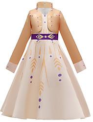 cheap -Princess Elsa Anna Dress Flower Girl Dress Girls' Movie Cosplay A-Line Slip Vacation Dress Halloween Beige Dress Christmas Halloween