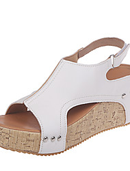 cheap -Women's Sandals Wedge Sandals 2020 Spring &  Fall / Spring & Summer Wedge Heel Open Toe Classic Casual Daily Outdoor Leopard PU Leopard / White / Black