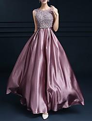 Недорогие -складки аппликации Онлайн цветочные империи без рукавов шею длиной до пола шармез выпускного вечера вечернее платье