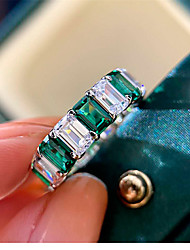 cheap -5 carat Synthetic Emerald Ring Silver For Women's Emerald cut Stylish Antique Luxury Elegant Wedding Party Evening Formal High Quality Retro