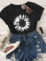 cheap -Women's Daily T-shirt Floral Print Short Sleeve Tops Cotton Black