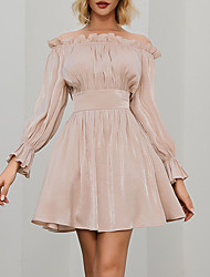cheap -Women Poet Sleeve Strapless Off Shoulder Girdle Pleated Casual Dress  MM0353