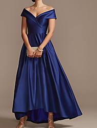 cheap -A-Line Mother of the Bride Dress Elegant Off Shoulder Asymmetrical Satin Short Sleeve with Pleats 2021