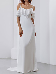 cheap -Sheath / Column Wedding Dresses Spaghetti Strap Sweep / Brush Train Stretch Satin Short Sleeve Country Plus Size with Cascading Ruffles 2020