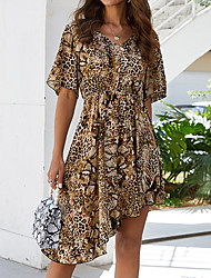 cheap -Women's Brown Dress Sexy Street chic Daily Going out A Line Print Color Block Patchwork S M