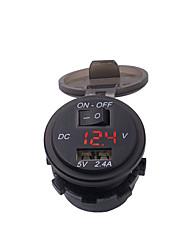 Недорогие -2.4a зарядное устройство для мотоцикла / одиночный вольтметр USB с переключателем (с фиксированным кронштейном) / красный светло-голубой светло-зеленый свет / черный / материал для защиты окружающей
