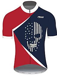 Недорогие -21Grams Муж. С короткими рукавами Велокофты Красный + синий Черепа Американский / США Флаги Велоспорт Джерси Верхняя часть Горные велосипеды Шоссейные велосипеды / Эластичная / Быстровысыхающий