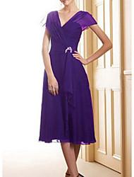 cheap -A-Line Mother of the Bride Dress Elegant V Neck Tea Length Chiffon Satin Short Sleeve with Pleats Sequin 2020