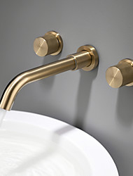 cheap -Bathroom Sink Faucet - Double Handles Wall Mounted Bath Mixer Taps Luxury Design Brushed Gold Finish Washroom Faucet