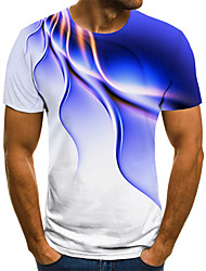 cheap -Men's Plus Size Geometric 3D Print T-shirt Street chic Exaggerated Holiday Going out Round Neck Black / Blue / Purple / Yellow / Blushing Pink / Green / Light Green / Short Sleeve