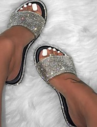 cheap -Women's Slipper Sandals Glitter Crystal Sequined Jeweled Flat Sandals Outdoor Slippers Flat Heel Open Toe Casual Daily PU Sequins Black Yellow Fuchsia