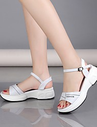 cheap -Women's Sandals Wedge Sandals Summer Creepers Open Toe Daily PU White / Black