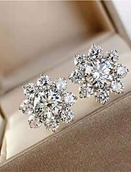 Недорогие -1 карат Синтетический алмаз Серьги Серебристый Назначение Жен. Принцесса вырезать Дамы Роскошь Элегантный стиль Свадьба Свадьба Вечерние Официальные Высокое качество вымостить 2pcs