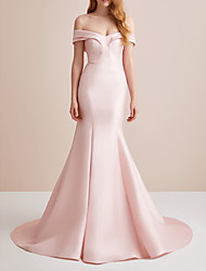 cheap -Mermaid / Trumpet Elegant Pink Engagement Formal Evening Dress Off Shoulder Sleeveless Court Train Satin with Sleek 2020