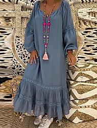 Недорогие -Жен. Макси А-силуэт Платье - Длинный рукав Сплошной цвет V-образный вырез Белый Синий Серый S M L XL XXL XXXL XXXXL XXXXXL