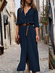 cheap -Women's Maxi Sheath Dress - 3/4 Length Sleeve Solid Color V Neck Black Blue Army Green S M L XL XXL XXXL