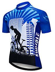 Недорогие -21Grams Муж. С короткими рукавами Велокофты Черный / синий В полоску Градиент Велоспорт Джерси Верхняя часть Горные велосипеды Шоссейные велосипеды Устойчивость к УФ Дышащий Быстровысыхающий