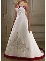 cheap -A-Line Wedding Dresses Sweetheart Neckline Sweep / Brush Train Polyester Strapless Country Plus Size with Bow(s) Appliques 2020
