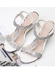 cheap -Women's Sandals Wedge Sandals Summer Wedge Heel Open Toe Daily PU White