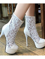 cheap -Women's Boots Stiletto Heel Pointed Toe PU Summer White / Black