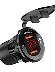 cheap -DC12V-24V Car Charger / Square Mouth Aluminum Alloy Double QC3.0usb Voltmeter Red Light / with Digital Display Voltmeter / Black Shell / Aluminum Alloy Material