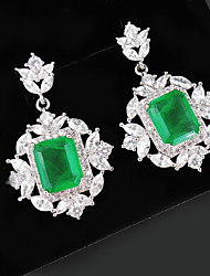 cheap -6 carat Synthetic Emerald Earrings Alloy For Women's Emerald cut Antique Luxury Bridal Wedding Party Evening Formal High Quality Pave 2pcs