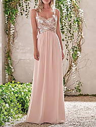 cheap -Sheath / Column Cowl Neck Floor Length Chiffon / Sequined Bridesmaid Dress with Sequin / Ruching