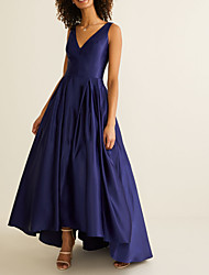 cheap -A-Line V Neck Asymmetrical Satin Bridesmaid Dress with Pleats