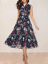 cheap -Women's Navy Blue Dress A Line Floral V Neck L XL