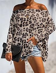 cheap -Women's Leopard Print T-shirt Daily Strapless Khaki