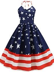 cheap -Women's A Line Dress - Sleeveless Print Halter Neck Navy Blue S M L XL XXL
