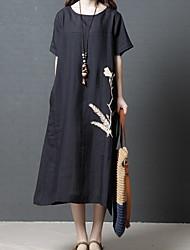 Недорогие -Жен. Футболка Платье - Короткие рукава Сплошной цвет Черный Зеленый M L XL XXL