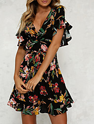 cheap -Women's A Line Dress - Short Sleeves Floral Spring & Summer V Neck Tea Party 2020 Black Beige S M L XL