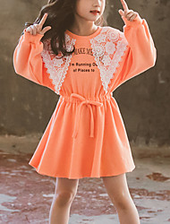 cheap -Kids Girls' Cute Color Block Lace Long Sleeve Above Knee Dress Orange