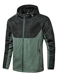 cheap -Men's Daily / Sports Basic Spring &  Fall / Spring & Summer Regular Jacket, Striped / Color Block Hooded Long Sleeve Nylon Print Army Green / Gray