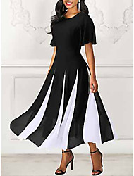 cheap -Women's Maxi A Line Dress - Short Sleeve Striped Spring & Summer 2020 Black M L XL XXL XXXL
