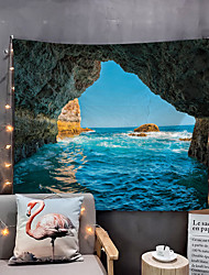 cheap -Home Living Beach Tapestry Wall Hanging Tapestries Wall Blanket Wall Art Wall Decor Blue Sea Tapestry Wall Decor