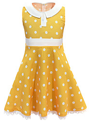 cheap -Kids Girls' Basic Cute Polka Dot Lace Sleeveless Knee-length Dress Yellow
