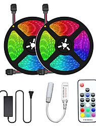 cheap -2x5M Flexible LED Light Strips Light Sets RGB Tiktok Lights 300 LEDs SMD5050 10mm 1 12V 6A Adapter 17-Key Remote Controller 1 set Multi Color Cuttable Party Decorative 12 V
