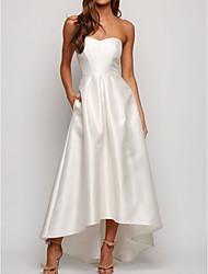 cheap -A-Line Strapless Asymmetrical Taffeta Bridesmaid Dress with Ruching