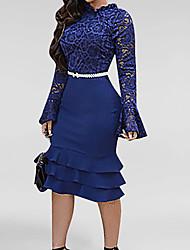 Недорогие -Жен. Gatsby Флэппер Платье - Длинный рукав Однотонный 1920s Белый Черный Синий Красный Розовый S M L XL XXL