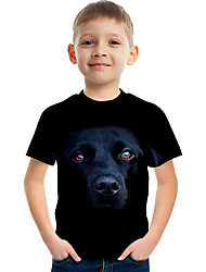 cheap -Kids Boys' Basic Street chic Dog Color Block 3D Animal Print Short Sleeve Tee Black