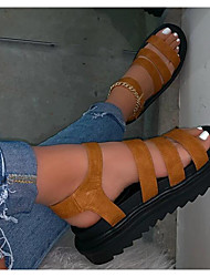 cheap -Women's Sandals Flat Sandal Summer Flat Heel Peep Toe Daily PU Black / Brown