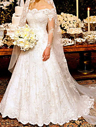 cheap -A-Line Wedding Dresses Off Shoulder Sweep / Brush Train Lace Long Sleeve Country Plus Size with Lace 2020