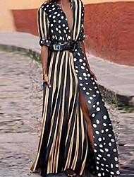 お買い得  -女性用 マキシ シース ドレス - ハーフスリーブ カラーブロック ディープVネック ブラック S M L XL