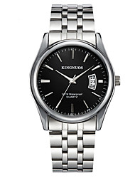 cheap -KINGNUOS Men's Steel Band Watches Quartz Stylish Casual Water Resistant / Waterproof Analog Black Blue Silver / One Year / Titanium Alloy / Calendar / date / day / Large Dial